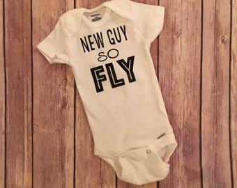 New guy so fly onesie, baby gift