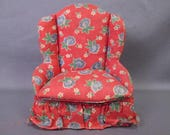 Reserved for S - Vintage Dollhouse Furniture - Upholstered Living Room Chair  - Large Scale - Pin Cushion Candy Box