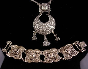 Vintage Etruscan necklace / etrusceana bracelet / hollycraft gypsy necklace / egyptian revival jewelry / silver ethnic necklace