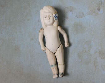 "Vintage 4.5"" Bisque Girl with Blue Bow Doll Jointed Arms and Legs"