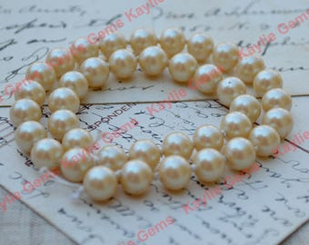 4 Strands of Vintage 8mm Creamy Champagne Color Luster Glass Pearl Strand Wedding Pearls Made in Japan