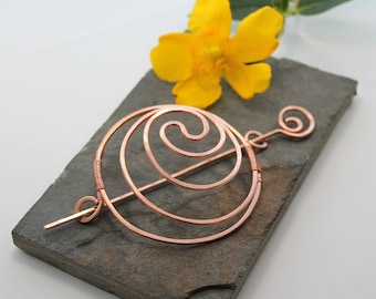 Yin Yang Spiral Hair Barrette Or Bun Cage - Copper - Medium