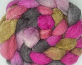 Hand painted combed top, Luxury blend, Baby Alpaca, BFL, Tussah Silk, British Shetland, fibre, roving, spinning, felting fiber, Rock Rose