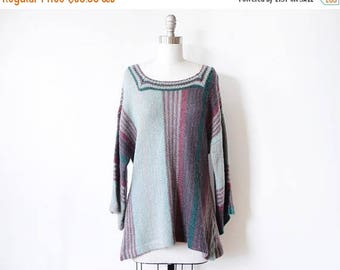 20% OFF SALE 70s boho sweater, vintage 1970s bell sleeve sweater, striped hippie knit top, large l