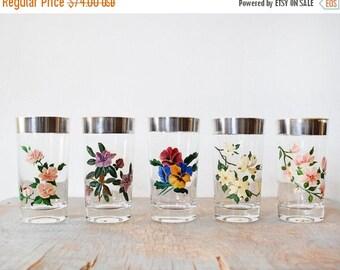 20% OFF SALE silver rim glasses, vintage floral glasses, mid century cocktail glasses