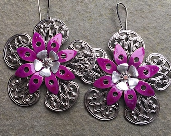 Vintage color collection earrings filigree hand painted purple
