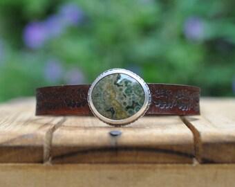 Sterling Silver Ocean Jasper Bracelet, Leather Cuff Bracelet, Oxidised Silver Button Leather Wrap Bracelet, Sized To Fit