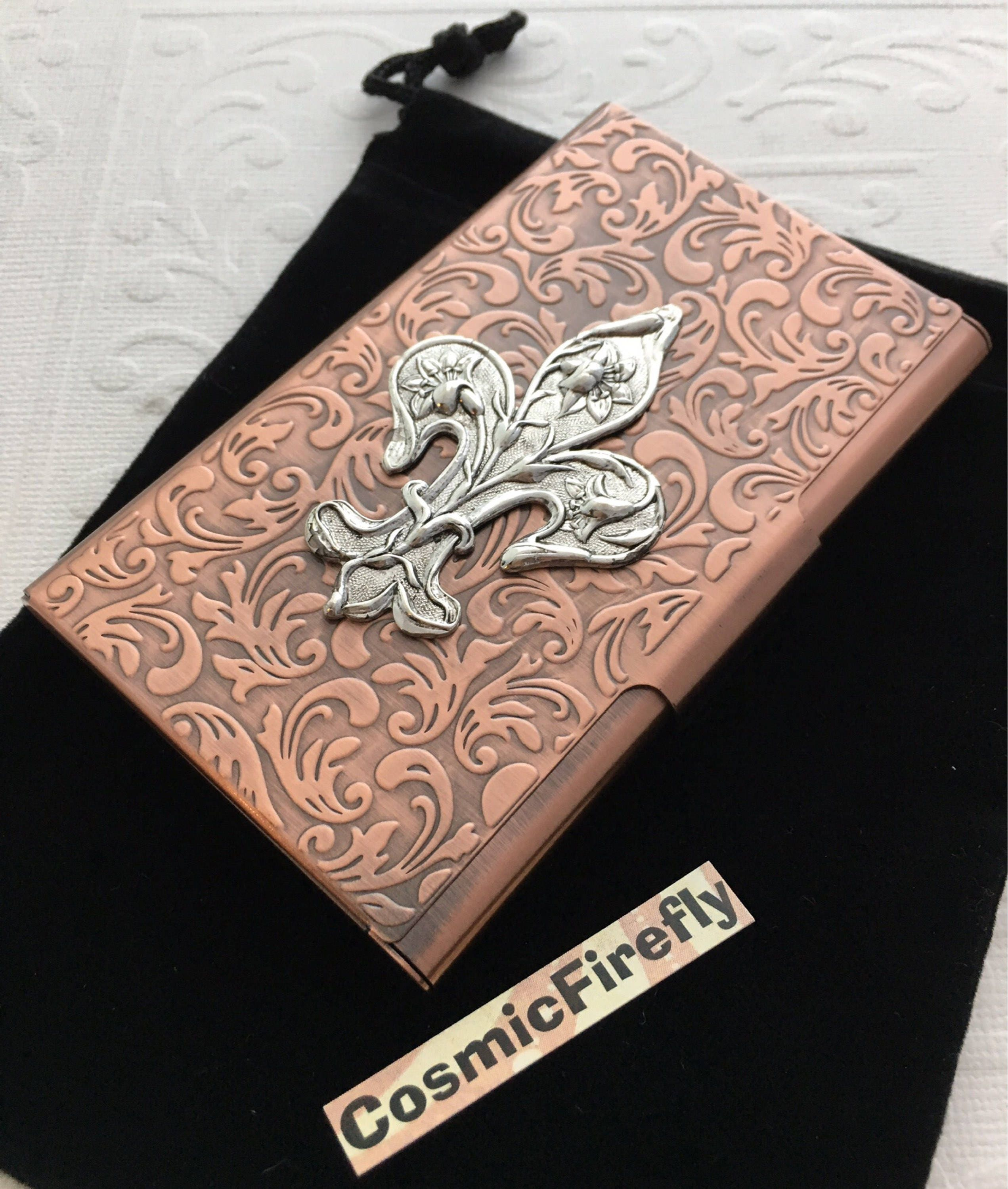 Copper Business Card Case Silver Fleur De Lis Steampunk Card Case ...