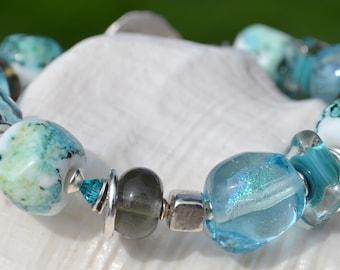 SIMPLICITY- Handmade Lampwork and Sterling Silver Bracelet