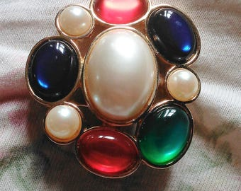 Avon Jeweled Classic Brooch Red, Blue Green Cabochons & Faux Pearl Colors Brooch Pin Vintage 1980s