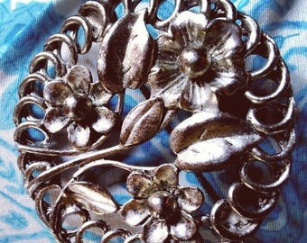 SALE TODAY Vintage Flower bouquet Brooch Floral Pin silver tone signed EH