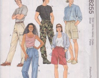 "McCall's 8255 Misses' and Men's Cargo Pants and Shorts Size Small Hip 33 1/2"", 341/2"" Vintage UNCUT Pattern 1996 Easy Pattern"