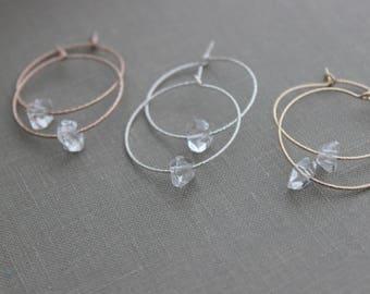 Herkimer Diamond  hoop earrings - 14k Rose Gold Filled, 14k gold fill or 925 sterling silver 1 inch hoops sparkly earrings - quartz Jewelry