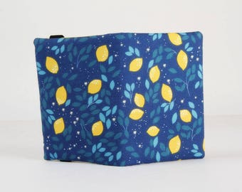 Fabric card holder - Lemons / Kawaii fabric / tropical fruits / citrus leaves / blue yellow