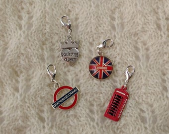 Knitting progress keepers jewelry charms stitch markers - 4 removable markers - British London Knitting Queen charms with lobster claw clasp