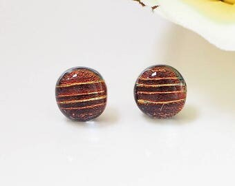Autumn Copper Fused Glass Stud Earrings - Earrings for Women - Copper Orange - Amber Glass Earrings - Dichroic Glass Studs - ES 679