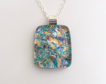 Pastel Rainbow Jewellery - Blue Gold Green Pink Pendant Necklace - Fused Glass Pendant Necklace - Dichroic Glass Jewellery - EP 699