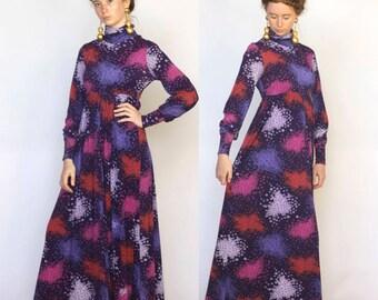 gentle technicolor -- vintage 70's daydream floral maxi dress S/M