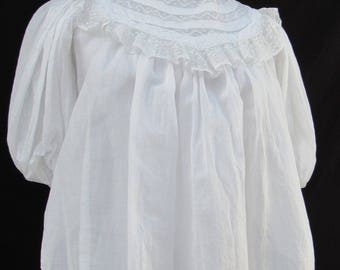High Neck Victorian White Maternity Blouse Western Top Shirtwaist Lace Trim Small