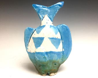 Tiny Table Fish: Blue And White; Soul Fish; Ceramic Fine Art