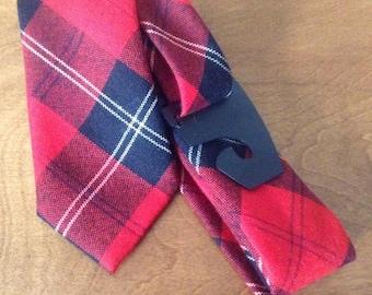 Vintage Red Tartan Wool Tie, Ramsay Tartan Tie, Ingles Buchan, Made in Scotland