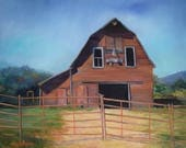 Large Barn Landscape Painting Red Barn Jasper,AR, Original Oil Painting On Canvas by Cheri Wollenberg