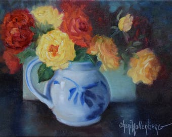 Red And Yellow Roses Canvas Oil Painting Still Life, Original Painting by Cheri Wollenberg