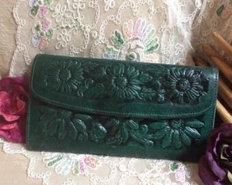 Vintage deep teal green tooled flowered clutch wallet, dimensional stamped forest green wallet clutch, blue green leather wallet clutch
