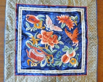 "Vintage Chinese Silk Hand Embroidered Pillow Cover or Tapestry - Flowers, Butterflies, Melons - Wall Hanging, Table Decoration 25.5"" Square"