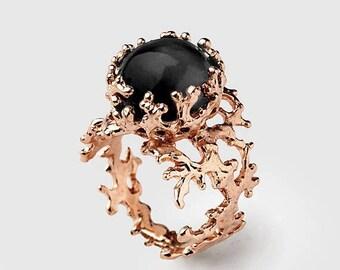 SALE 20% Off - CORAL 14k Rose Gold Onyx Ring, Black Onyx Engagement Ring, Unique Rose Gold Ring, Rose Gold Engagement Ring, Rose Gold Statem