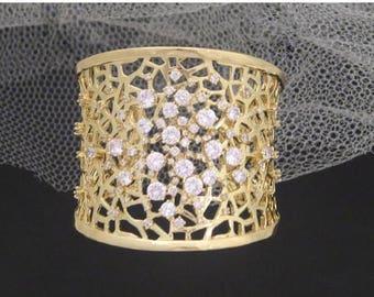 SALE Gold Wedding bracelet, Gold Cuff bracelet, Crystal Bridal bracelet, Bridal jewelry, Rose Gold, Statement bracelet, Rhinestone bracelet