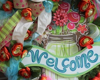 WELCOME MASON JAR wreath, with deco mesh, tulle, flowers, burlap ribbon- Summer Wreath- Welcome Wreath- Spring Wreath