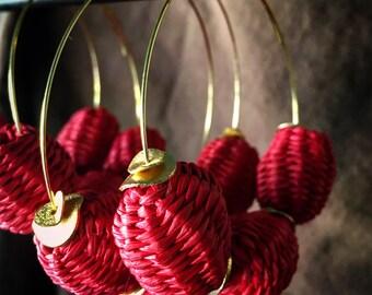 Valentine's day hoops   gold hoops   red and gold   large hoop earrings   red hoop earrings