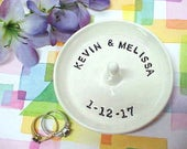 Custom Ring Dish, Personalized Jewelry Storage, Wedding Ring Holder, Engagement Dish, Gift for Bride Names, Pottery Ring Bowl, Made to Order