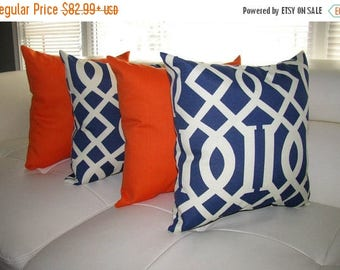 Kirkwood Admiral Blue and Sundeck Orange Outdoor Throw Pillow - 4 Pack Free Shipping
