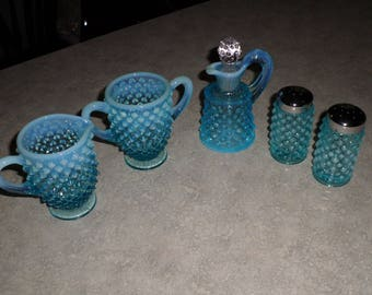 Fenton Glass blue opalescent hobnail Salt & Pepper, Sugar and Creamer and Cruet 5pc SET