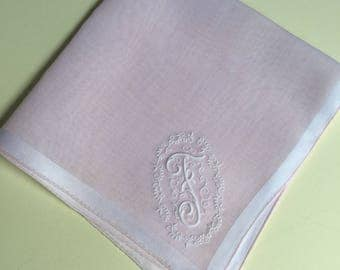 Vintage Pale Pink Hanky with a pink Initial F - Handkerchief Hankie
