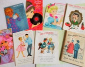 Sixties Seventies Graphics Spicey Stories Teen Girl with Record Blond w Pink Phone New Baby Poster Story Card Vintage all Occasion No 281