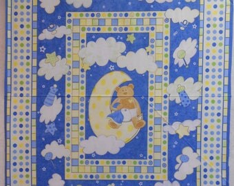 Baby Fabric - Button-Up Bears by South Sea Imports - Baby Quilt Panel - CLEARANCE SALE!!!