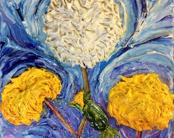 Dandelions  6x6x3  Inch deep Original Impasto Oil Painting by Paris Wyatt Llanso