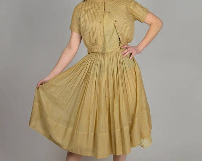 sale Vintage 50s Dress, Beige Swing Dress, Pin Up Dress, Matching Jacket, Easter Dress, Circle Skirt Dress, 1950s Dress,  Size XS