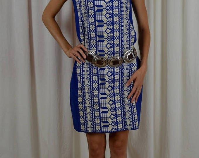 sale Vintage Dress, 70s Dress, Boho Dress, Blue Dress,Hippie Dress, Cotton Dress, Embroidered Dress, Casual Dress, 1970s Dress, Spring Dress