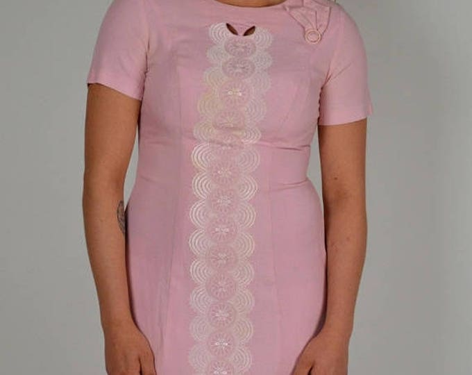 sale Vintage Dress, Pink Dress, 50s Dress, Day Dress, Cotton Dress, Embroidered Dress, Blush Dress, Rockabilly Dress, Preppy Dress, 1950s Dr