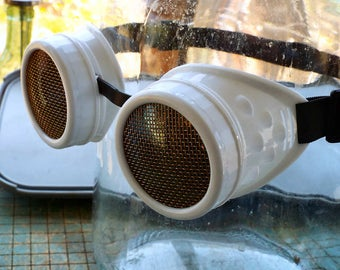 Steampunk Goggles, white frame, brass screen lens covers, welding, eye protection glasses, lightning pirate, cosplay, mad science supply