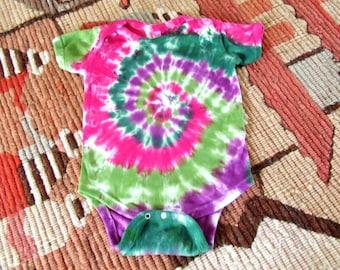 18m Tie Dye Baby Onesie - Rosebud Swirl  - Ready to Ship