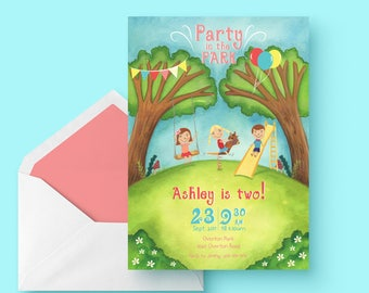 Printable Party in the Park Invitation, playground, park party, birthday party invitation for girls and boys
