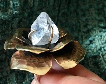 Ready to ship sale Apophyllite flowere statement ring in bronze and sterling. Adjustable band