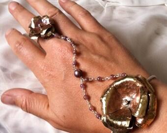 Blow out SALE Camellia bangle bracelet and ring set on sterling silver - adjustable