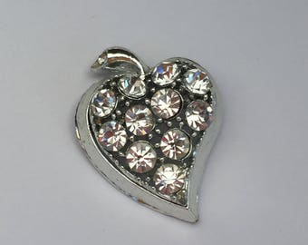 Vintage Rhinestone Heart Pin or Brooch - Prong Set