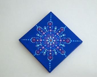 Mini mandala 3x3 canvas wall dot art-OOAK 3D original fine art-home decor-blue teal purple amethyst-pointillism-dottilism-hippie boho-yoga